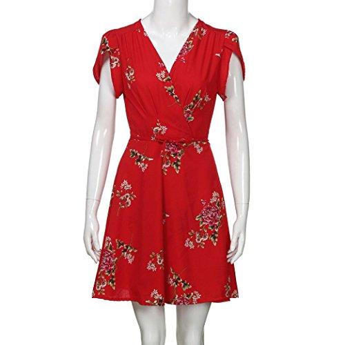 Bohemio De con Fiesta En Corto Rojo para Playa Cuello Flores Vestido De Maxi Mujer Verano Estampado Verano Pico Vestidos Mujer wn4q60BC