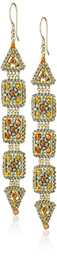 Miguel Ases Created Topaz, Quartz, and Swarovski Triangle Enclosed Square Link Drop Earrings