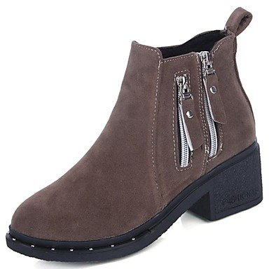 Fall Mid For Khaki Women'S Round Heel Toe Boots US8 Fashion Shoes CN39 RTRY UK6 Casual Zipper Block Boots Winter Calf Pu Boots Black EU39 7twqUnUaS