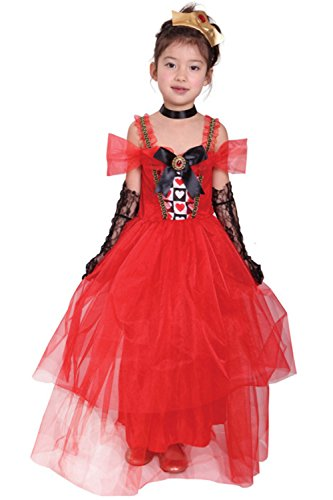 BTW.JP Halloween Costume Girl's Queen Of hearts Dress With Choker and Crown Set (L)