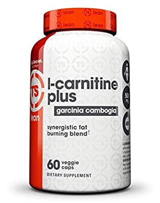 Top Secret Nutrition L-Carnitine Plus Garcinia Cambogia Weight Loss Supplement and Appetite Suppressant (60 veggie caps)