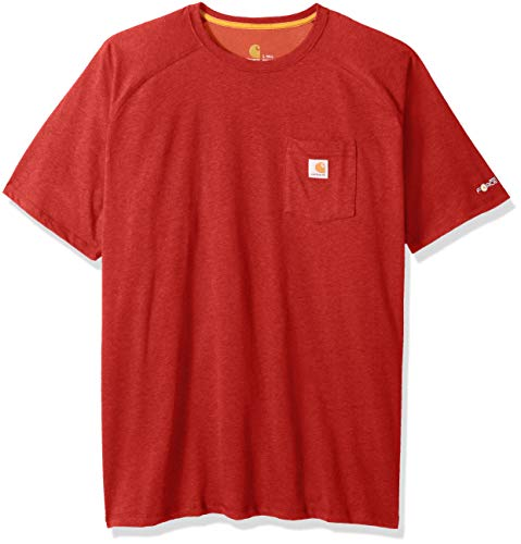 Carhartt Men's Big and Tall Force Cotton Delmont Short Sleeve T-Shirt (Regular and Big & Tall Sizes), Bandana red Heather, 4X-Large Big And Tall Relaxed Fit T-shirt