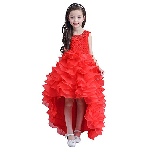 GuaGuaEgg Lace Embroider Beading Girls Party Princess Dress Red 12 ()