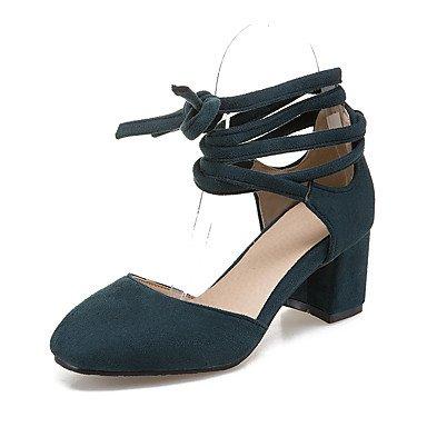 Sandalias Primavera Verano Otoño Zapatos Club Fleece Oficina & Carrera visten casual Chunky Heel Lace-up Green