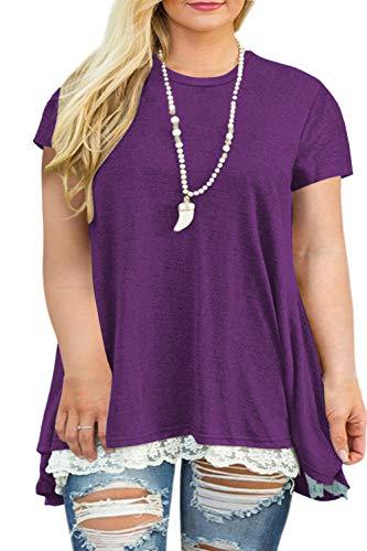 Women's Plus Size Lace Splicing Casual Tunic Shirts Long Blouse Tops Purple 24W