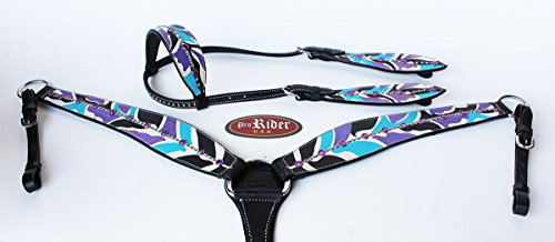 ProRider Horse Show Tack Bridle Western Leather Headstall Breast Collar Tack Purple 8379A ()