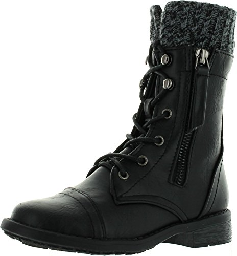 JJF Shoes Justina Kids Black Leatherette Sweater Cuff Lace Up Zip Mid Calf Ankle Combat Boots-11 (Combat Child Boots)