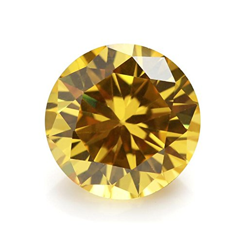 500PCS 2.0mm AAAAA Round Machine Cut Golden Yellow Loose CZ Stones Cubic Zirconia (2.0mm 500pcs)