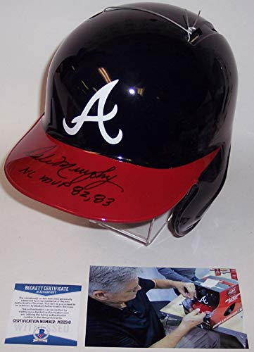 Dale Murphy Autographed Hand Signed Atlanta Braves Full Size Rawlings Batting Baseball Helmet - with NL MVP 82,83 - BAS Beckett Authentication