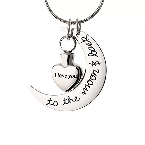 - Norya Cremation Jewelry I Love You to the Moon & Back Carved Locket Cremation Urn Necklace for Ashes Keepsake Memorial Urn Pendant