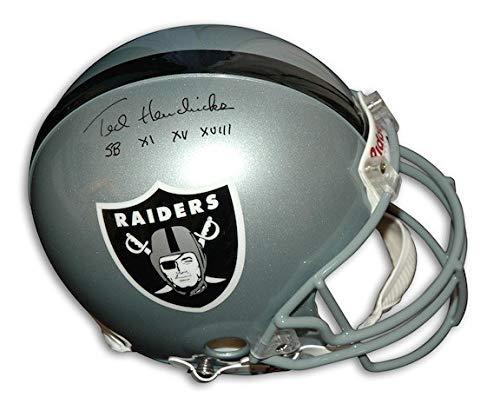 (Autographed Ted Hendricks Oakland Raiders Riddell Proline Helmet Inscribed SB XI XV XVIII - Certified Authentic Signature)