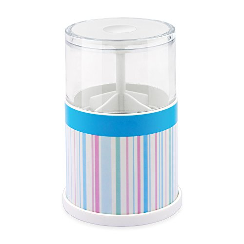 Cotton Swabs Holder Plastic Automatic Pop-up Round Canister 4 Compartments Dispenser Storage Q-tips Toothpick Floss Bars Organizer for Bathroom (Automatic Toothpick Holder)