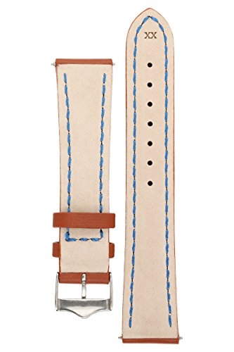 Signature Racing Wood 20 mm watch band. Replacement watch strap. Genuine Leather. Silver buckle by Signature (Image #1)