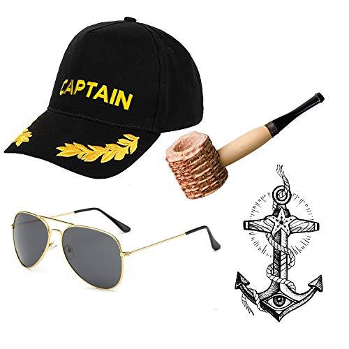 Yacht Captain & Sailor Costume Set - Hat,Corn Cob Pipe,Aviator Sunglasses,Vintage Anchor Temporary Tattoo (OneSize, C10)]()