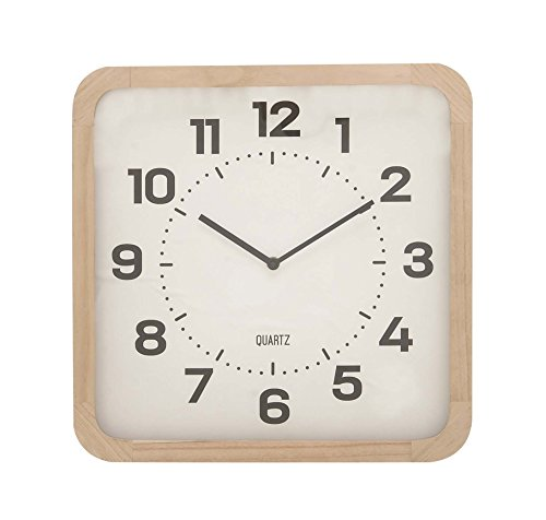 Deco 79 85250 Matte White Wooden Wall Clock, 15″ x 15″, Black/Lightbrown