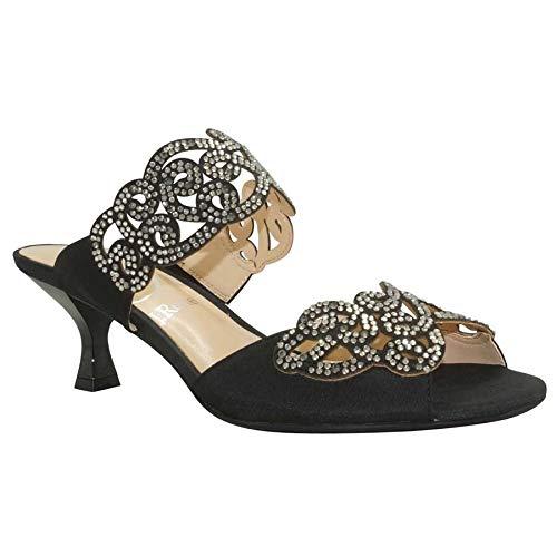 (J. Renee Women's Francie Dress Slide,Black Satin/Rhinestones,US 10 W)