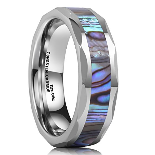 King Will Nature 6mm Silver Tungsten Carbide Ring Unisex Wedding Band Abalone Shell Inlay Faceted Edges (7.5)