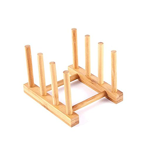 Bamboo Wooden Dish Rack Dishes Drainboard Drying Drainer Storage Holder Stand Kitchen Cabinet Organizer for Dish / Plate / Bowl / Cup / Pot Lid / Book ()