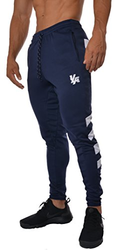 YoungLA Mens Soccer Training pants tapered fit 5 colors (Navy/White, Large)
