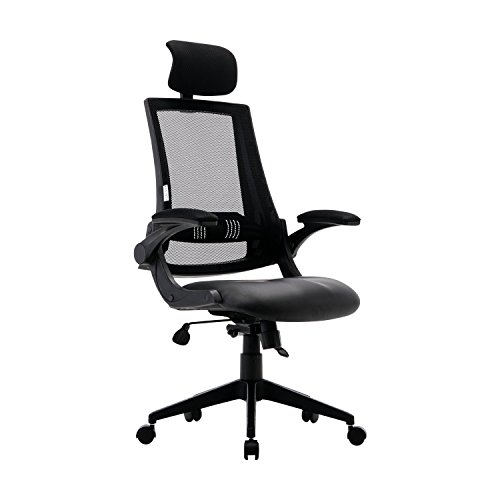 KADIRYA High Back Ergonomic Mesh Office Chair with Leather Seat Flip-up Armrests 90°-110°Tilt Lock Adjustable Back Lumbar Support Computer Desk Task Executive Chair,Black A(BIFMA Certified)