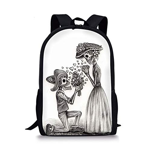 School Bags Day Of The Dead Decor,Mariage Proposal Till Life do us Apart Dead Day Festive Print,Dimgrey and White for Boys&Girls Mens Sport Daypack]()