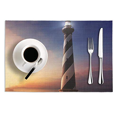Set Of 2 Placemats 12X18 PVC Woven Vinyl Cape Hatteras Lighthouse Heat-Resistant Stain Resistant Non-Slip Table Mat For Kitchen Dining - Hatteras Green Cypress