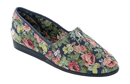 Ladies/Womens Canvas Shoe/Plimsoll/Casual Slip On ~ PATRICIA ~ Navy/Floral ~ UK 8 cTH3Wzuik