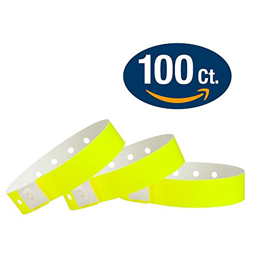 WristCo Neon Yellow Plastic Wristbands - 100 Pack Wristbands For Events