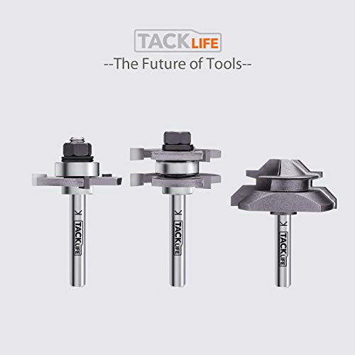 TACKLIFE 1/4 Inch Shank Router Bit Set,Tongue and Groove Router Bits &Lock Miter Router Bit with 45-Degree, 4Pcs Bearings Set,Professional Choice for Home Improvement -RB31C