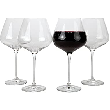 Lily's Home Crystal Pinot Noir Wine Glasses Set of 4.