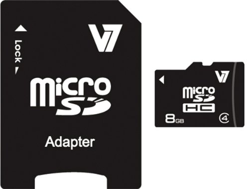 V7 8GB MicroSDHC Class 4 Flash Memory Card with SD Adapter (VAMSDH8GCL4R-1N)