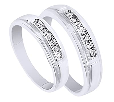 White Natural Diamond His And Hers Wedding Band Ring Set in 14K White Gold (0.13 Cttw)