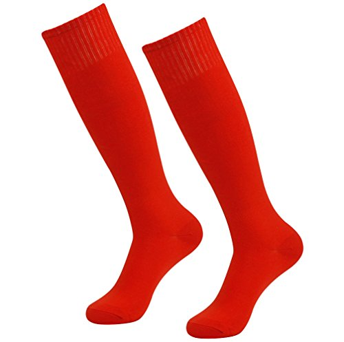 Knee High Sport Socks, RTZAT Men's Women's Fit Adult Youth Long Football Sock 2 Pairs Red
