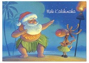 Boxed Christmas Cards SANTA DANCES HULA