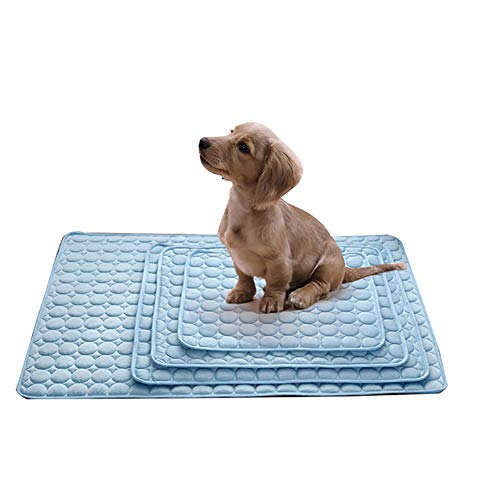 (PUAO Pet Dog Self Cooling Mat Pad, Puppy Cat Ice Silk Mat Cooling Blanket for Kennels, Crates and Beds (M:6250cm, Blue))
