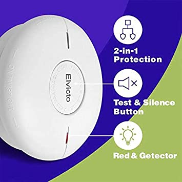 Elvicto Combination Photoelectric Smoke Carbon Monoxide Detector 10 Year Battery Operated, Travel Portable Fire and Co Alarm for Home, Kitchen