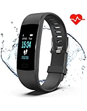 Saikee Fitness Tracker, Activity Tracker Watch with Heart Rate Monitor, Sleep Monitor, Step Counter Fitness Watch IP67 Waterproof Pedometer, Compatible with iPhone & Android (Black on)