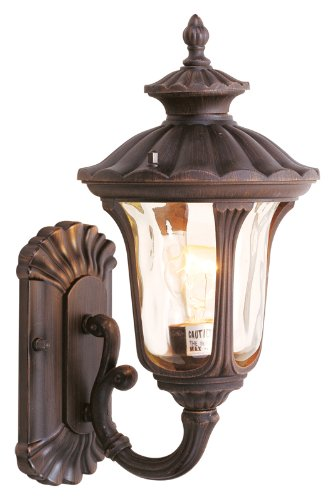- Livex Lighting 7650-58 Oxford 1 Light Imperial Bronze Cast Aluminum Wall Lantern with Light Amber Water Glass