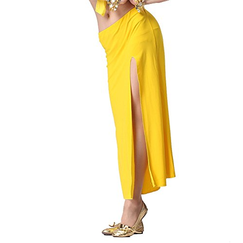 Belly Dance Lateral Split Skirt Dancing Dress Crystal Cotton Costume Yellow