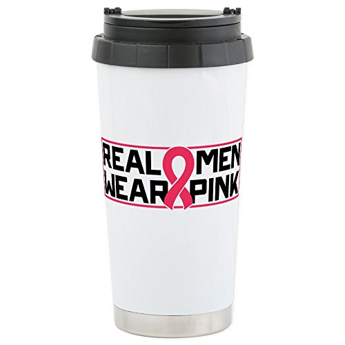 CafePress - Real Men Wear Pin - Stainless Steel Travel Mug, Insulated 16 oz. Coffee Tumbler Cancer Research Pins