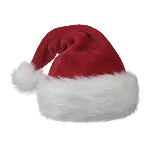 BALORAY Santa Hat,Double Wall and Thickened Christmas Hat with Traditional Red and White Plush - Santa Hat Plush