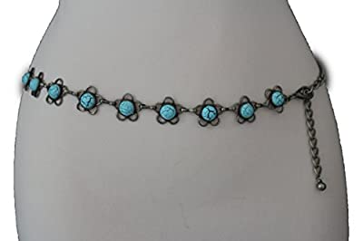 TFJ Women Fashion Metal Chains Belt Hip Waist Silver Turquoise Blue Flowers XS S M
