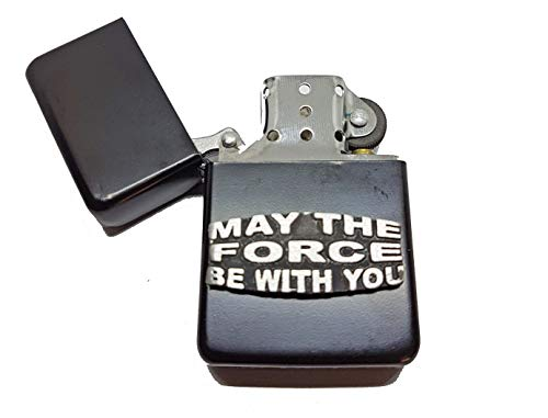 May The Force Be With You Petrol Lighter in Pouch Funny Star Wars Fan Slogan English Pewter Emblem