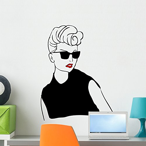 Sexy Retro Woman Fashion Wall Decal by Wallmonkeys Peel and Stick Graphic (24 in H x 18 in W) - Sunglasses Brunette