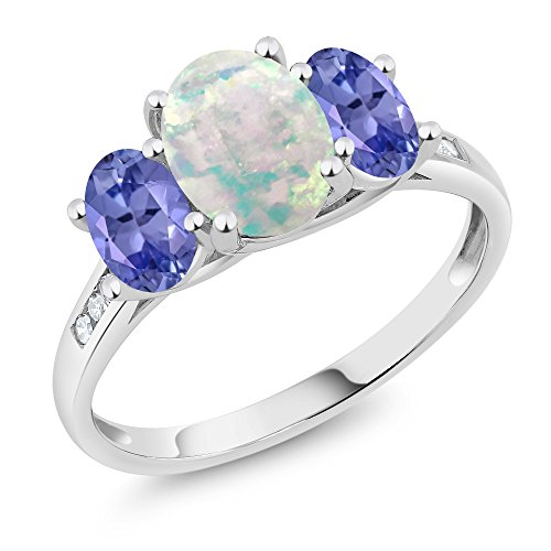 Gem Stone King 10K White Gold Diamond Accent Cabochon White Simulated Opal Blue Tanzanite 3-Stone Ring 1.95 Ct (Size - Ring 3 Stone Tanzanite
