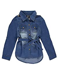 "Dollhouse Big Girls' ""Hi-Low Tied"" Button-Down"