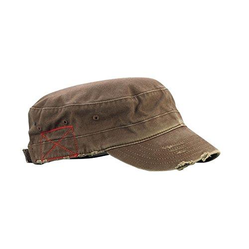 Mega Cap Cotton Distressed Washed Cadet Cap (Brown) -