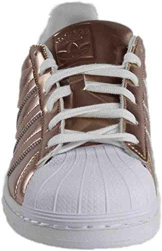 Adidas Kvinnor Superstar Fritidsskor 9,5 M Oss Metallisk Koppar Vita