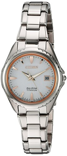 Citizen Women's ' Quartz Titanium Casual Watch, Color:Silver-Toned (Model: EW2410-54A)