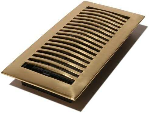 Decor Grates HSL410 4-Inch by 10-Inch Louvered Floor Register, Solid Brass by Decor Grates (Import) [並行輸入品]